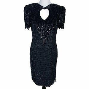 Vintage Nadine Boutique Sheath Dress Black Beads M